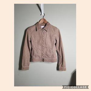 Rebecca Taylor tan denim crop moto jacket sz 2